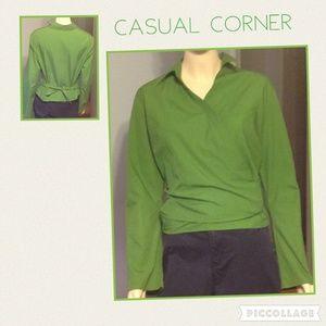 Casual Corner Wrap Long Sleeve Suit Career Blouse